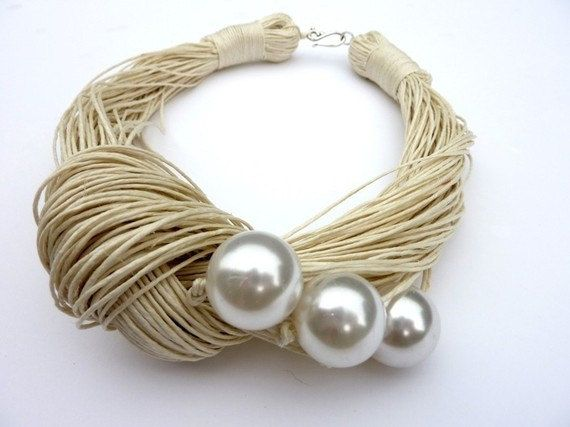 This unique necklace is made of ivory linen thread and three white acrylic pearl beads. The beads measure approx. 2cm. I would like to show here that