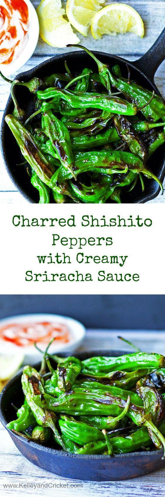 Smokey charred shishito peppers with creamy sriracha sauce.