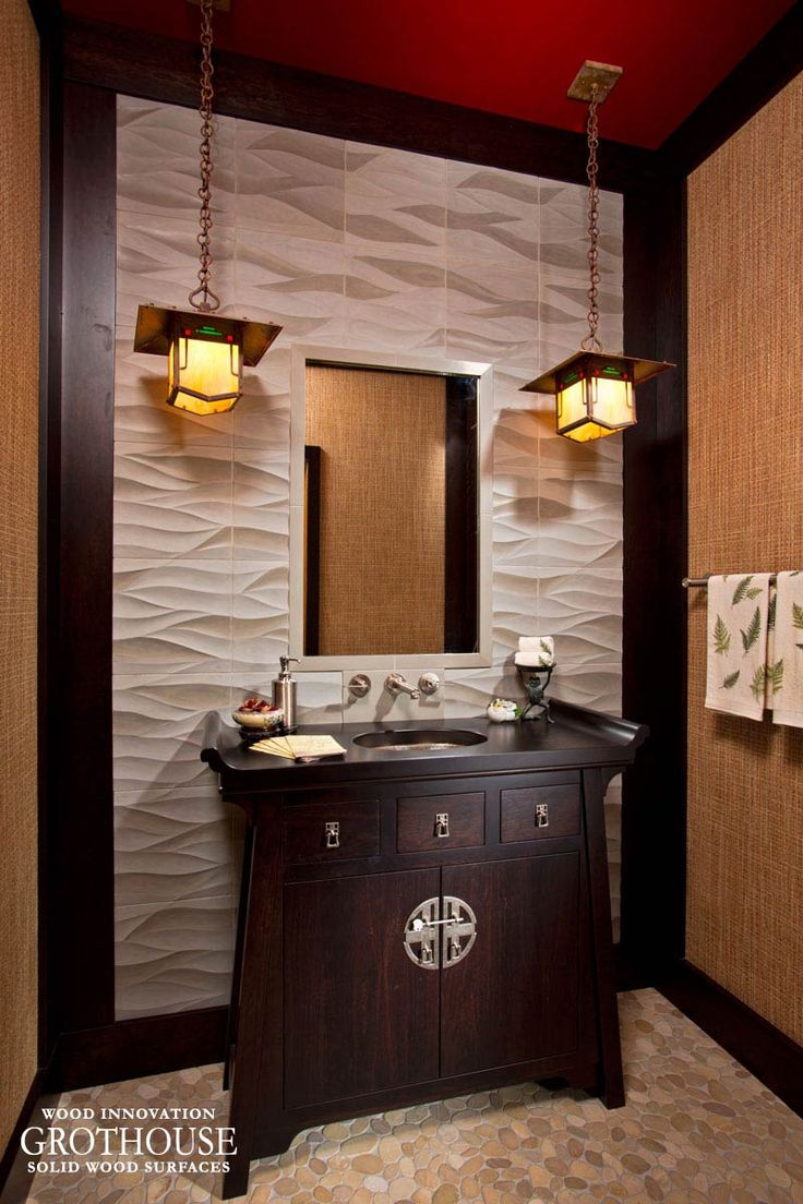 Large maple with wenge butcher block countertop in pennsylvania - Stained Cherry Powder Room Vanity Top In New York Https Www Glumber
