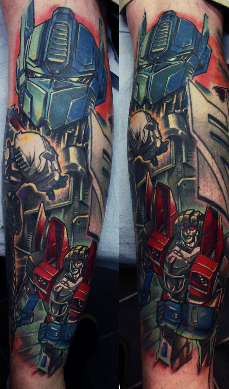 Transformers Tattoo done by Edgar Ivanov at Old London Road Tattoos in Kingston Upon Thames