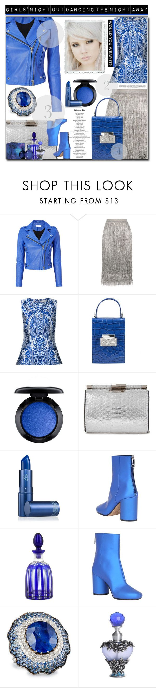 """GIRLS' NIGHT OUT"" by polyvore-suzyq ❤ liked on Polyvore featuring IRO, Rachel Zoe, Mary Katrantzou, Subella London, MAC Cosmetics, Lipstick Queen, Maison Margiela, Alexander Laut, Whiteley and Britney Spears"