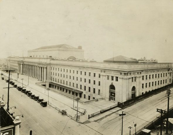 """Toronto 1920s """"Toronto's third Union Station was completed in 1927, a block west of the """"old"""" Union Station. The jewel of the classical Beaux-Arts structure, which was designed by Ross & Macdonald, Hugh G. Jones of Montreal and John M. Lyle of Toronto, is the cavernous ticket hall. Look carefully at the cities inscribed near the roof--Sault Ste. Marie is spelled incorrectly."""" Thank you for this, Chris Bateman. Just lovely! And the construction never ends. ;-)"""