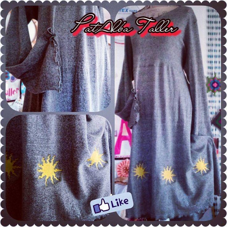 Vestido flopi manga ancha con soles bordados en todo el ruedo #patalbataller #diseñoindependiente #diseñodeautor #vestuario #bordados #handmade #comodidad #confeccionapedido