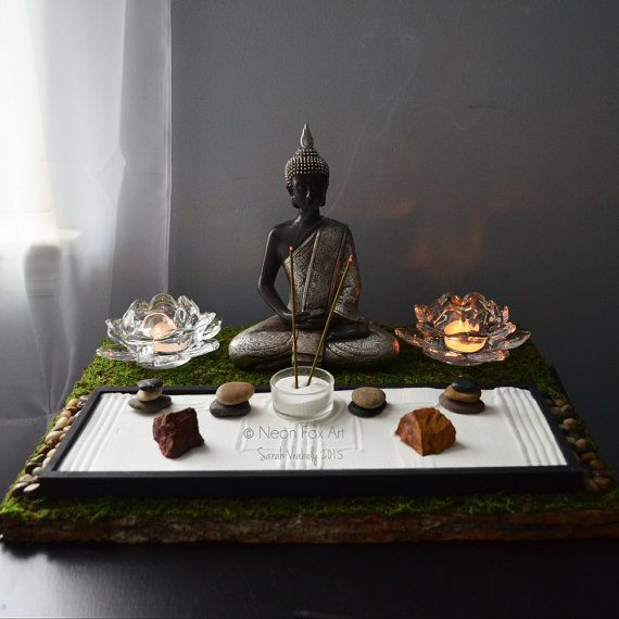 Meditating buddha statue buddhist altar table shrine for Buddha decorations for the home uk