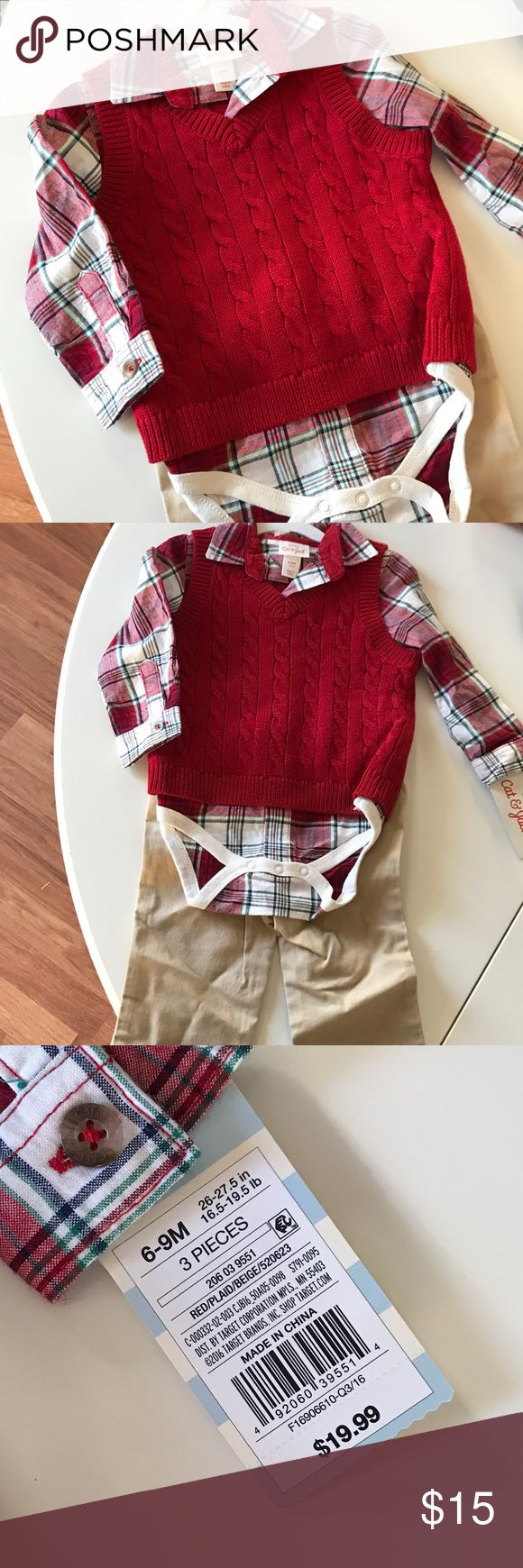 Baby boy 3 piece outfit 6-9mo baby boys 3 piece red and khaki outfit. Cat&Jack by Target 🎯 Cat & Jack for Target Accessories