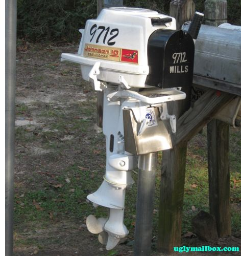 boat motor Mail box. No fishing any more.