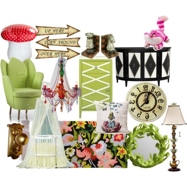 Alice in Wonderland nursery by molly-pop on Polyvore featuring polyvore, interior, interiors, interior design, home, home decor, interior decorating, Streamline NYC, Present Time and ELK Lighting