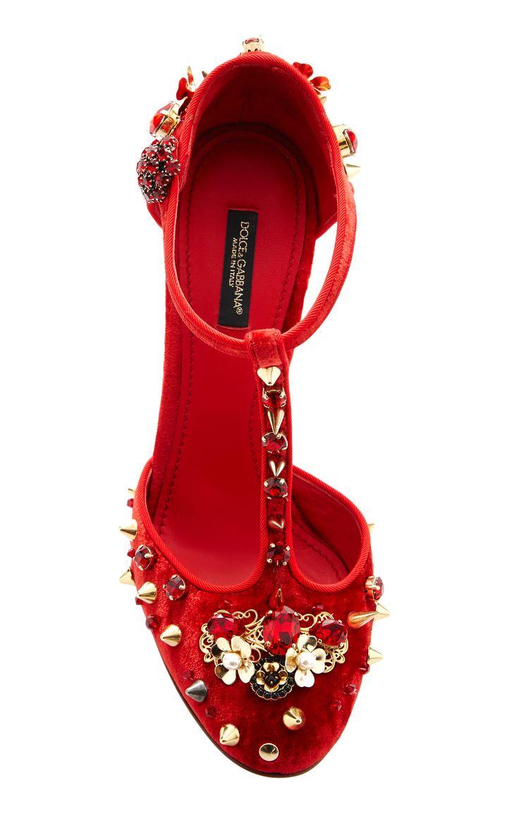 Red Velvet Studded T-Strap Pump. Dolce & Gabbana Spring 2015 Ready–to–Wear. #SS15 #MFW