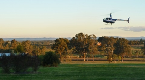 Helicopter flight Lovedale Hunter Valley