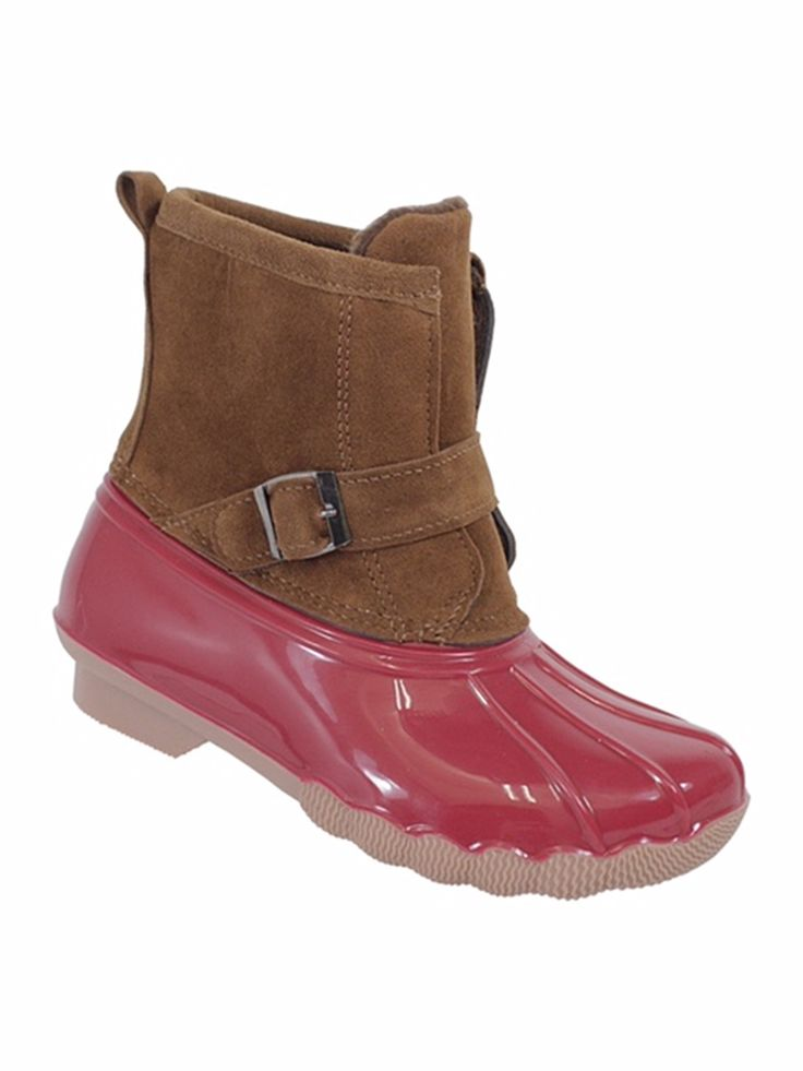 Gavin-101K Girls 2 Tone Rain Boots with Suede Shaft Coral 11. Duck Boots. Kids love these easy slip on Boots. Classic Simple yet Stylish Look. Dirt, and odors can be easily washed off. Made in China.