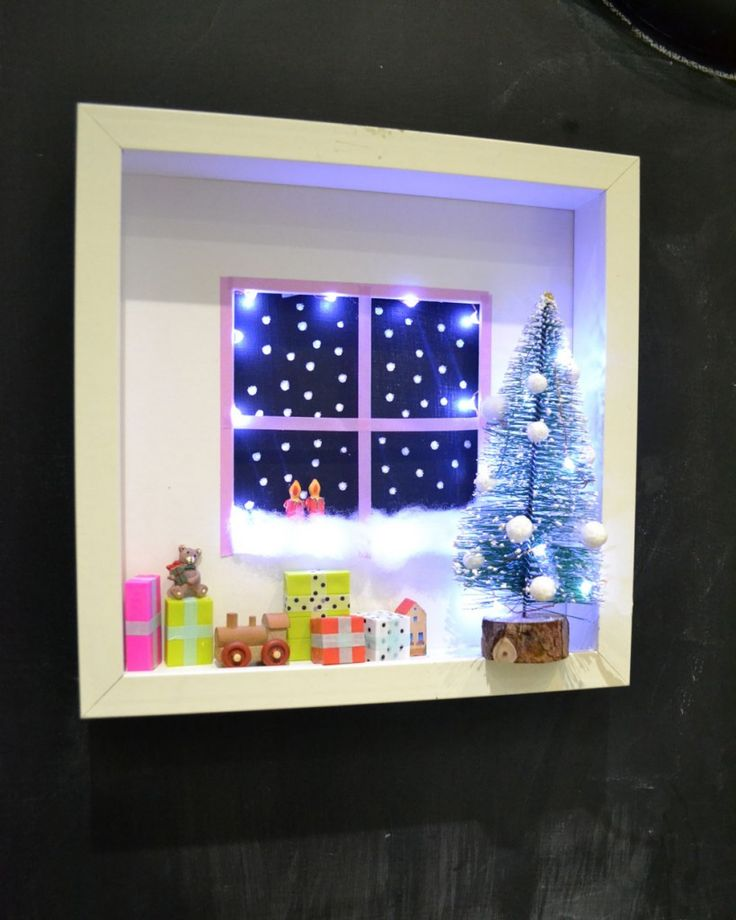 IKEA's RIBBA frames become the perfect shadow box for my Christmas decorations. 1. Remove the glass. 2. Faster a suitable backing board to the frame, where the glass used to be. 3. Turn it around and decorate the ledge of the frame with the ornaments you like. Read more at http://www.ikeahackers.net/2013/12/ribba-for-xmas.html#V1Fh0lY1kvMY0sQ8.99