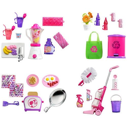 Mini Furniture Packs for Barbie to play house.
