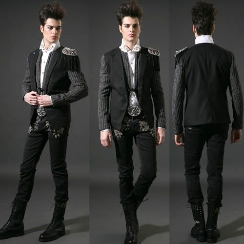 Men Black Epaulet Punk Rock Hipster Goth Fashion Casual