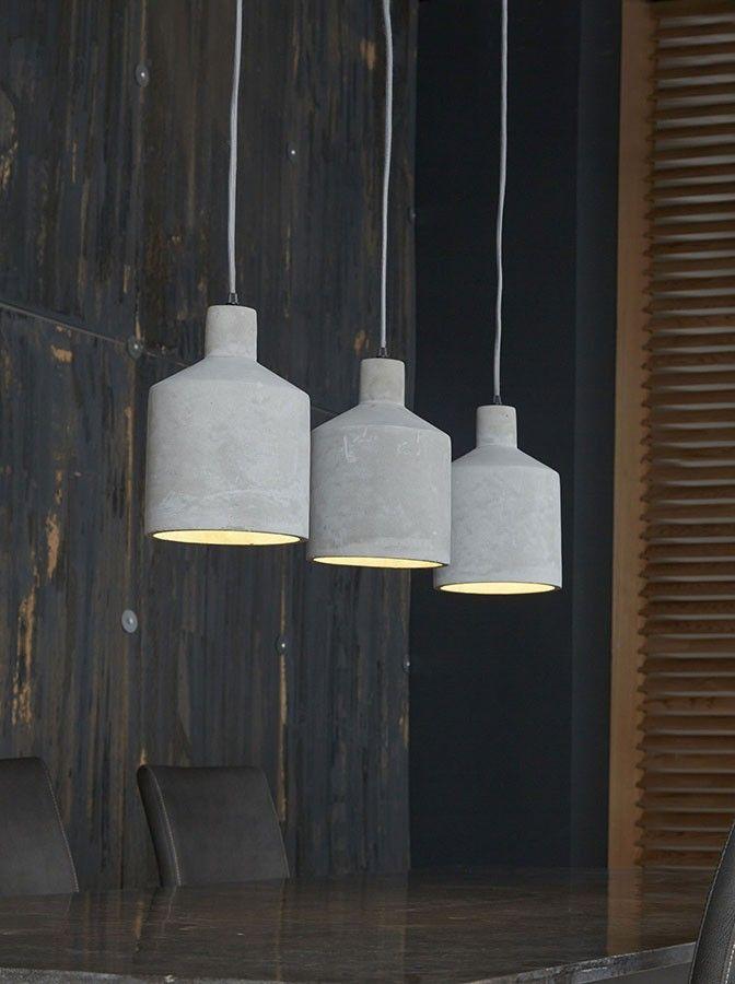 Luminaire suspensions type industriel béton 3 lampes POKER