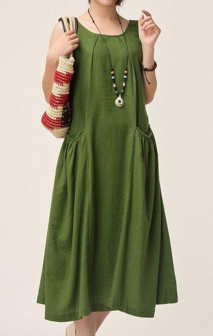Cotton and linen sleeveless vest skirt long dress skirt with shoulder-straps, linen blended casual dress plus size dress. 011