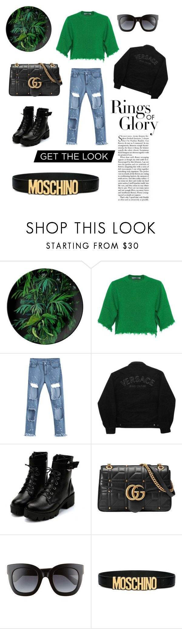 """""""Rings Of Glory"""" by mariavalcerpa ❤ liked on Polyvore featuring Valentino, Versace Jeans Couture, Gucci, Moschino and Tiffany & Co."""