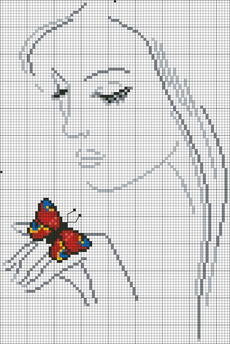 woman butterfly cross stitch pattern
