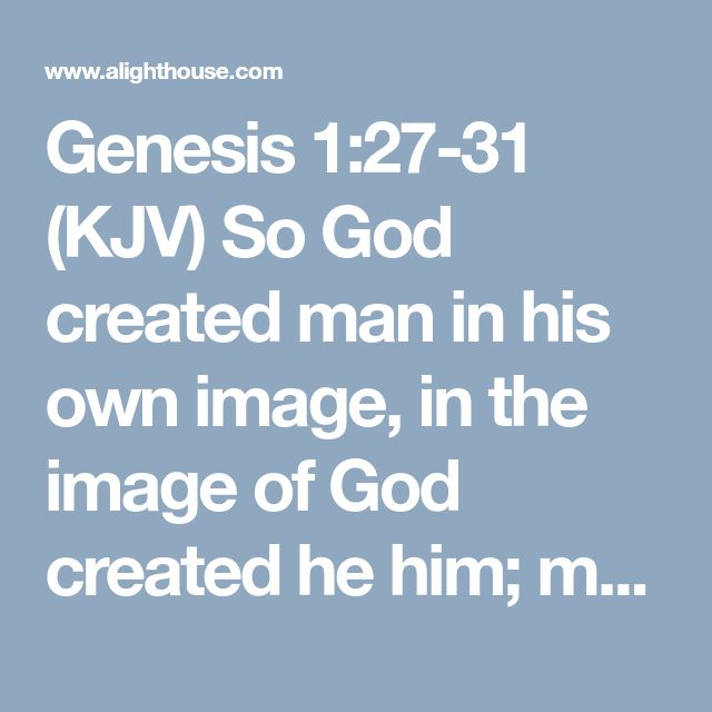 Genesis 1:27-31     (KJV)  So God created man in his own image, in the image of God created he him; male and female ., ,..;,,,ecard
