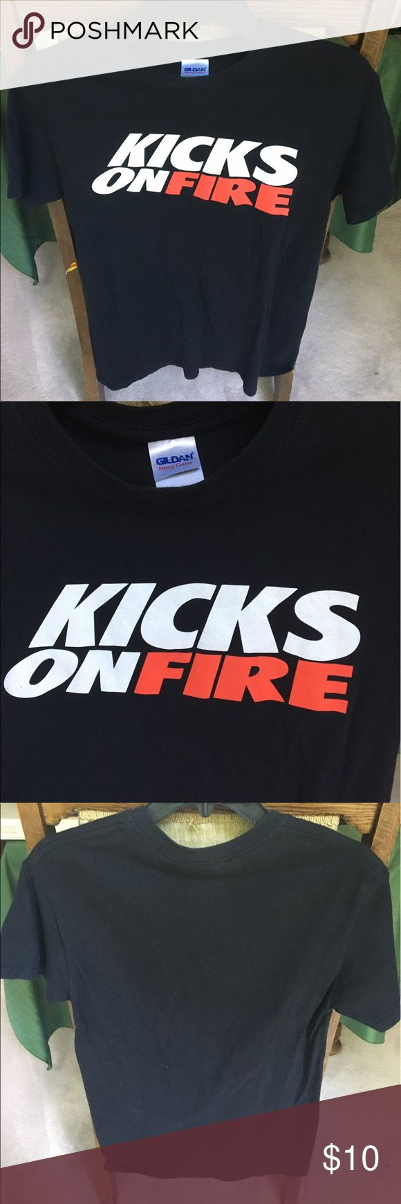 Used kicksonfire tee Used Kicks on Fire t-shirt. This is a sneaker release company that informs you about upcoming sneaker releases. kicksonfire Shirts Tees - Short Sleeve