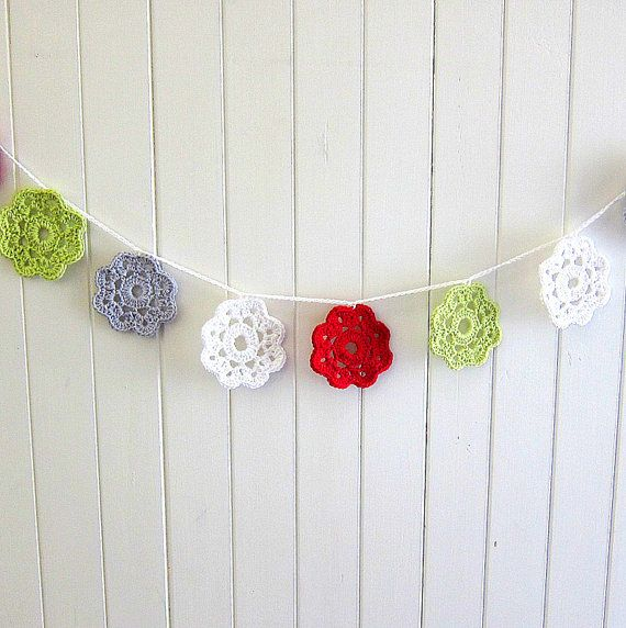 The Festive Garland - crochet flower / bunting / red,white,green, silver grey / Christmas on Etsy, $45.00 AUD