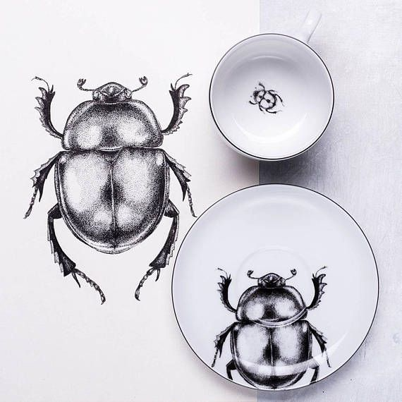 Beetle coffee cup and saucer White porcelain hand drawn