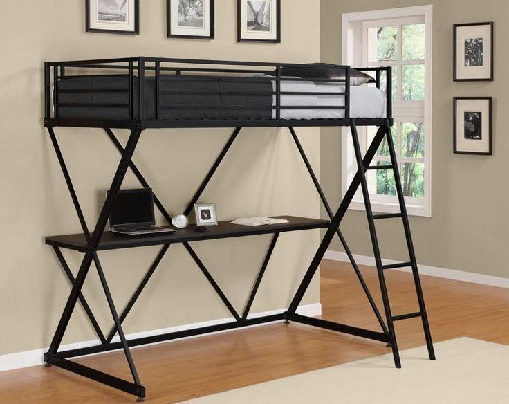 Details About Loft Bunk Bed Desk Metal Workstation Ladder