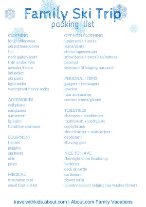 Free Packing Lists For Family Vacations: Free Printable Packing List for Family Ski Vacations