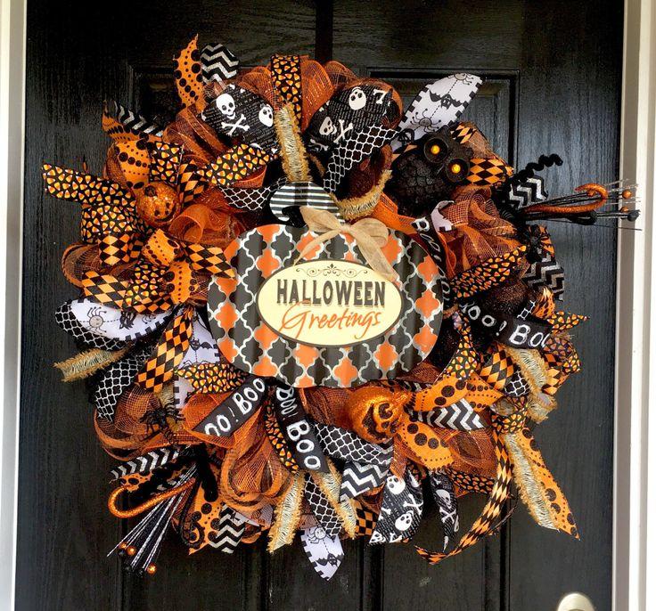 Halloween wreath,Trick or Treat Deco Mesh Wreath, Halloween Mesh Wreath…