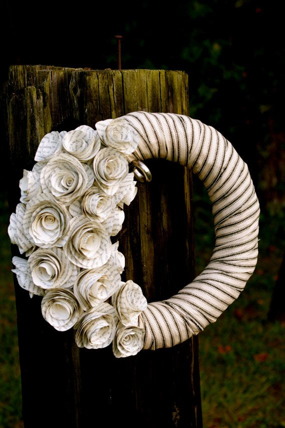 I want to do a shabby chic wreath for my little one's room--love this concept but will use vintage style scrapbook paper to create the roses