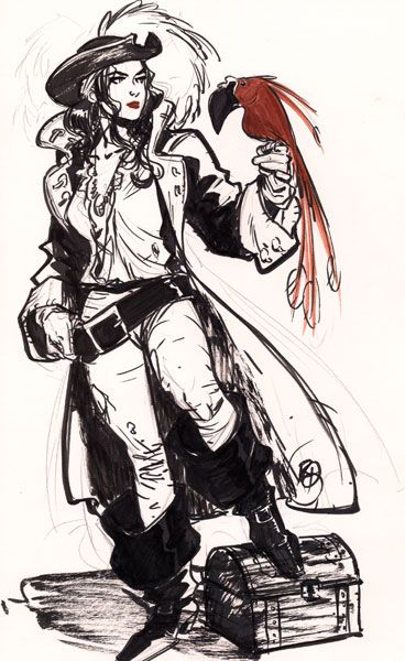 The Pirate lass and her red parrot