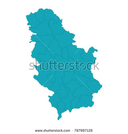 Serbia country map,border, A Blue shape with name of the country of Serbia, High Detailed Blue Map of Kosovo isolated on white background. Vector illustration eps 10.