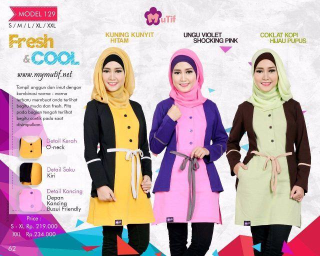 Baju atasan Muslim tunik Mutif model 128 terbaru dengan kombinasi warna-warna natural dan soft dengan balutan desain yang simple dipercantik oleh variasi rem...