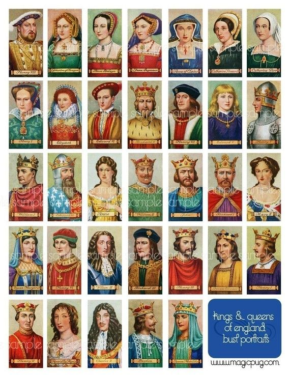 Antique Kings and Queens of England digital collage sheet