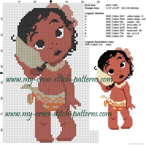 Baby Moana (Un Mar de Aventuras) patrones ponto de cruz