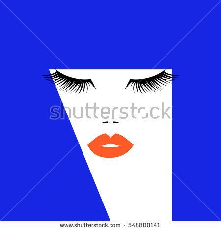 Pop art woman face with orange lips lush eyelashes and abstract blue hairs. Vector illustration