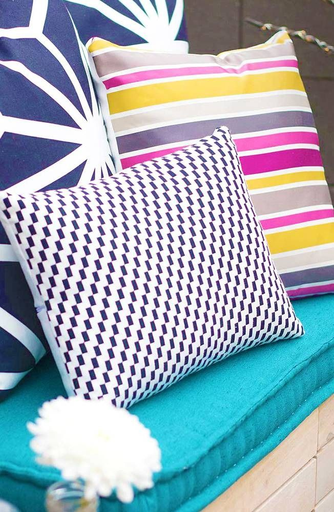 Love to sew and makeover areas? We have DIY ideas for you! Learn how to make oversized colorful pillows for an outdoor space.