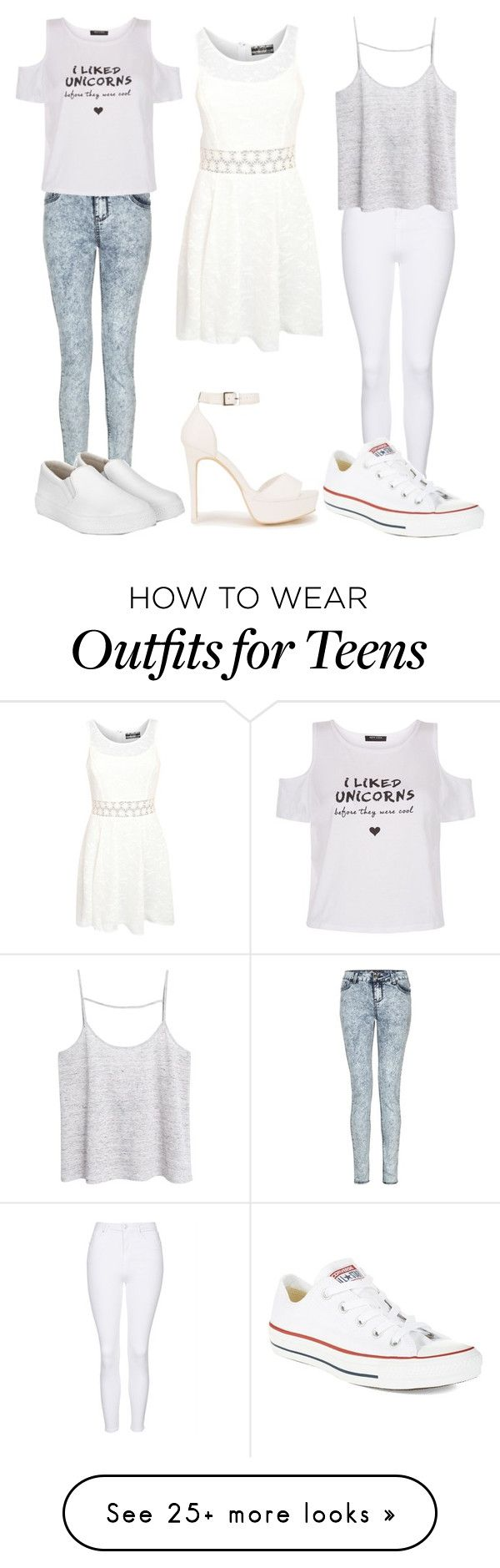 """White Outfits"" by amylovesptx on Polyvore featuring New Look, Pilot, Nly Shoes, Topshop, MANGO and Converse"
