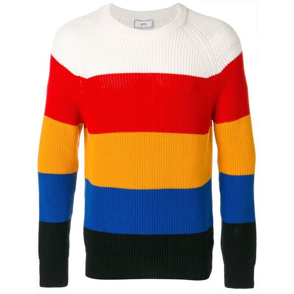 Ami Alexandre Mattiussi raglan sleeves crewneck sweater (22.430 RUB) ❤ liked on Polyvore featuring men's fashion, men's clothing, men's sweaters, multicolour, mens crewneck sweaters, mens cotton sweaters, mens striped sweater, mens cotton crew neck sweaters and mens colorful sweaters