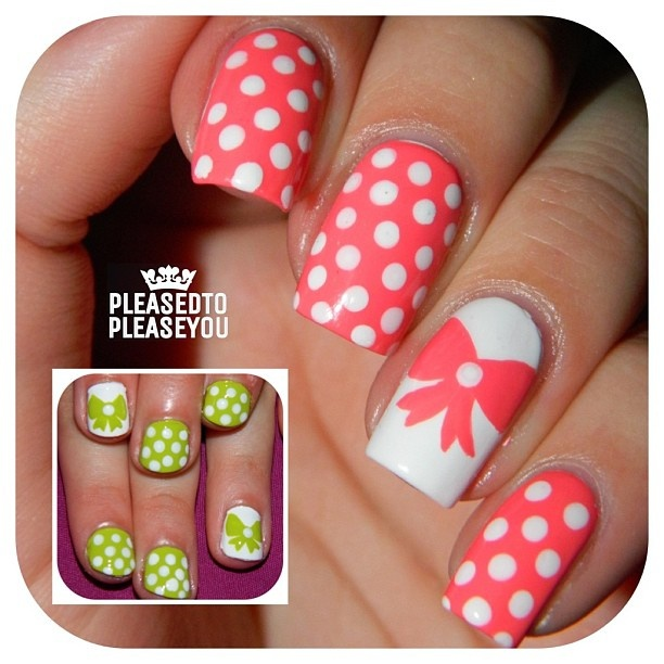 Peach And White Polka Dot Nail Art With Bow Accent Nail