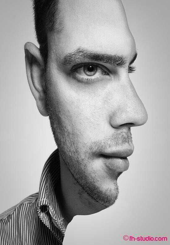 An illusion of a portrait. It holds your attention and makes you examine it. At first the man's face appears to look like it's only half of his face is showing, but once you look at it, you notice that it's also a profile view of the man's face. I think it's a clever and classic design example.