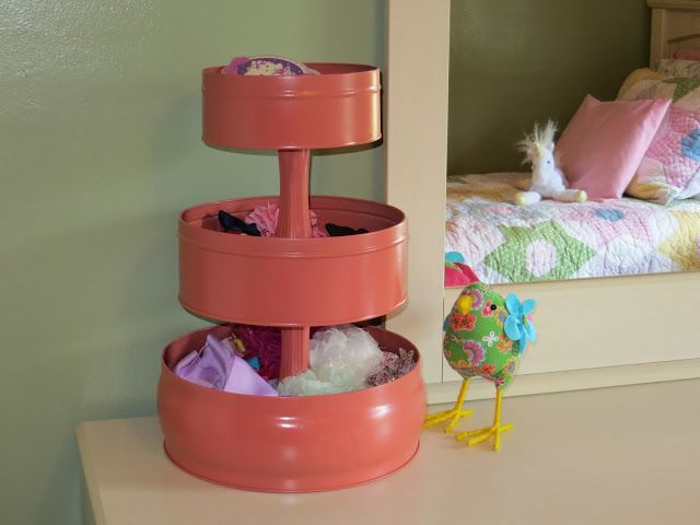 Through the Eyes of the Mrs.: DIY Hair Accessory Organizer Put wheels on the bottom so it turns and store craft items.