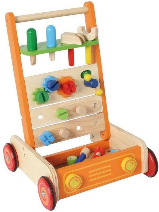 Wunderschönes Spielgefährt und Werkbank in einem. Aus Holz. Mit viel Zubehör: Werkzeug, Schrauben, Nägel, Zahnräder    kein Warntext notwendig    Abmessungen (in mm): 400x380x530