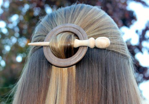 Walnut and Maple Wooden Shawl Pin or Hair Stick by McCutchwoodworks on Etsy
