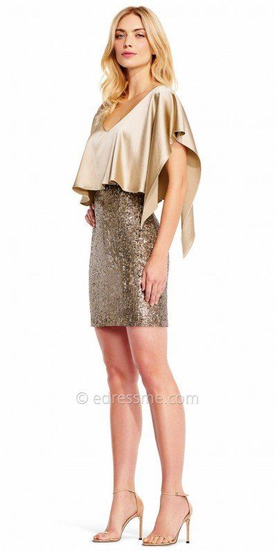 Define elegance and class as you arrive to your next special event in this Draped Sequin Embellished Form Fitting Cocktail Dress by Aidan Mattox. This ultra glam style features a fitted pencil skirt that is completely embellished with sequins for that perfect hint of sparkle. The bodice includes a gorgeous perfectly draped design that has a handkerchief hemline on the sleeves. #edressme