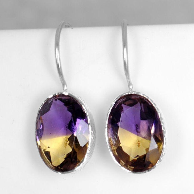 CLEARANCE SALE 925 Sterling Silver Ametrine Women Earrings Pair Oval Jewelry