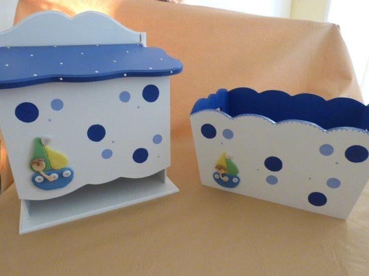 Pañalera y Portacosméticos infantil en porcelana fría y stencil