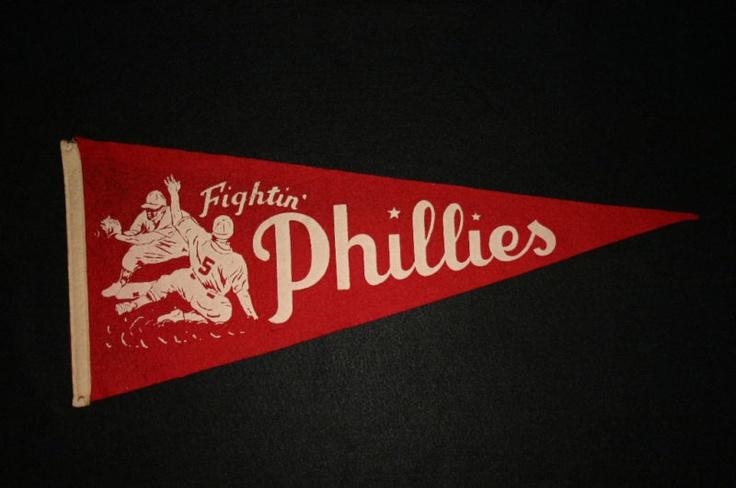 Vintage 1950 Fightin' Phillies Pennant