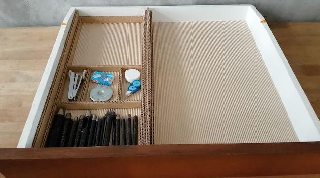 Diy Desk Drawer Organizer With Sliding Trays From Cardboard Box In 2020 Organized Desk Drawers Diy Desk Desk With Drawers