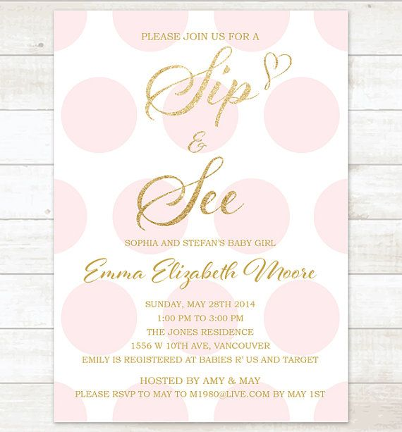 pink gold sip and see invitation baby shower invitation pink gold glitter polka dots printable modern shower digital invite customizable
