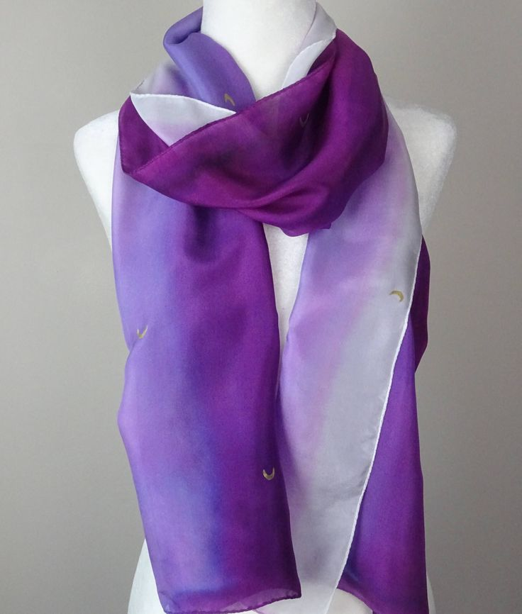 Painted Silk Scarf, Handmade, Purple Gradient and Gold Accented. Approx  13 X 73 inches by SeesaSilk on Etsy